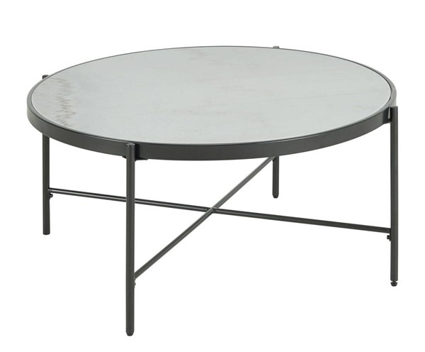 Picket House Carlo Black Round Coffee Table with Marble Top PKT-CSO100CTMBE