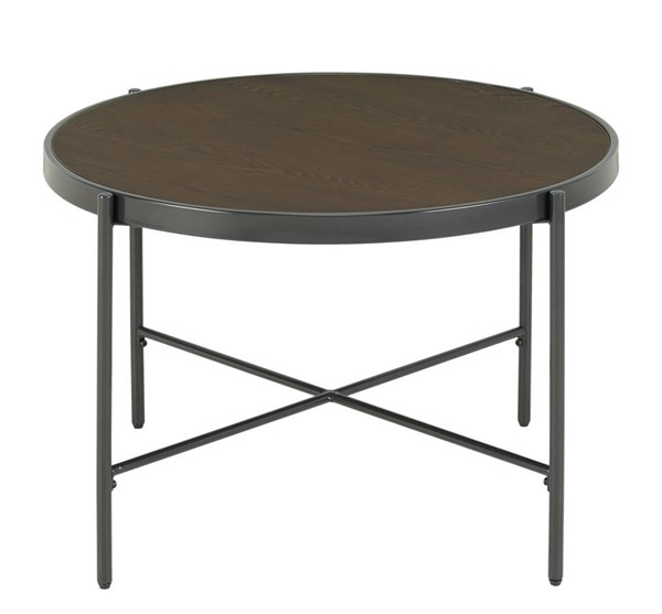 Picket House Carlo Brown Black Round Coffee Table with Wooden Top PKT-CSO100CTWDE