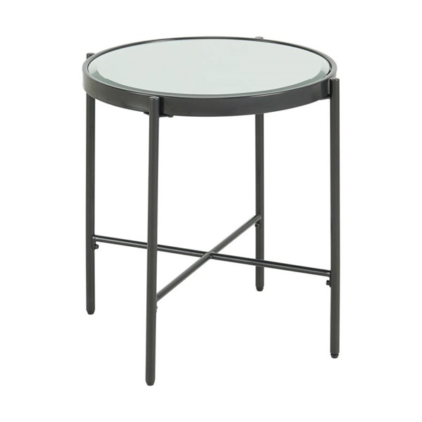 Picket House Carlo Clear Black Round End Table with Glass Top PKT-CSO100ETGLE