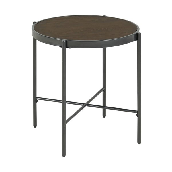Picket House Carlo Brown Black Round End Table with Wooden Top PKT-CSO100ETWDE