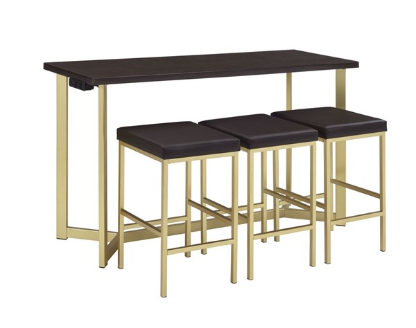 Picket House Melrose Espresso Gold Multipurpose 4pc Bar Table Set PKT-CTHP100BTSP
