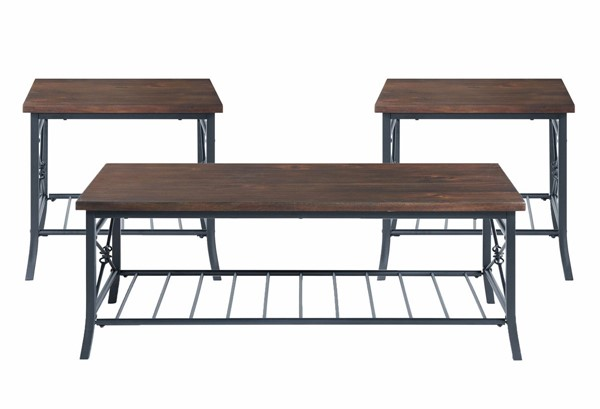 Picket House Percy Brown Wood 3pc Coffee Table Set PKT-CTMA100OT