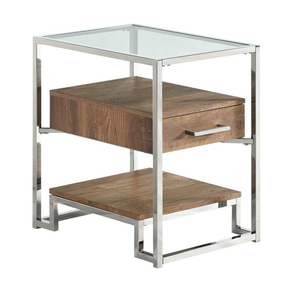 Picket House Hampton Light Walnut Chrome Rectangle Storage Side Chair Table PKT-CTMX100CETE