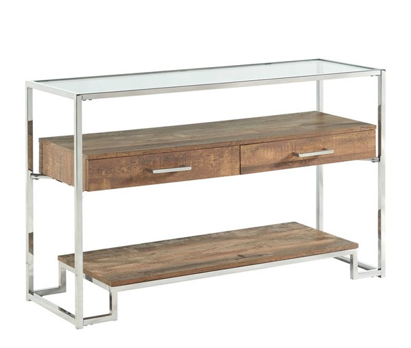 Picket House Hampton Light Walnut Chrome Rectangle Storage Sofa Table PKT-CTMX100STE