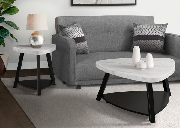 Picket House Lena White Marble 3pc Coffee Table Set PKT-CTN100-OCT-S1