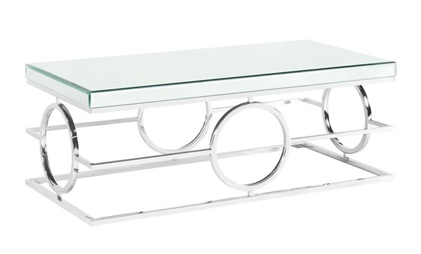 Picket House Katie Chrome Rectangle Mirrored Coffee Table PKT-CTPL100CTE