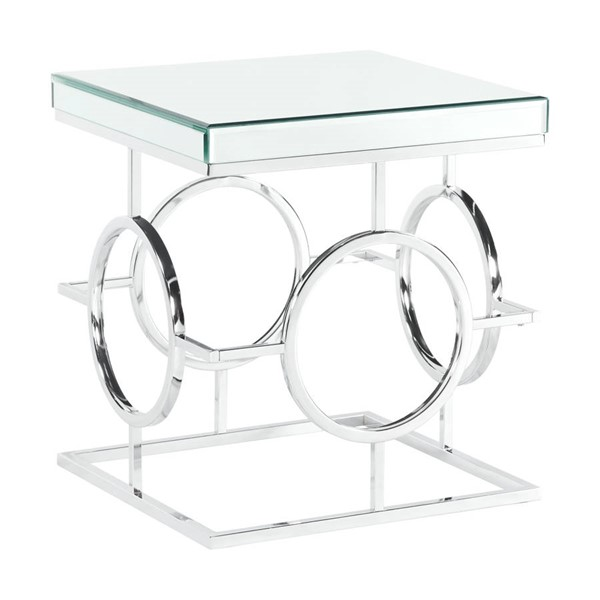 Picket House Katie Chrome Square Mirrored End Table PKT-CTPL100ETE