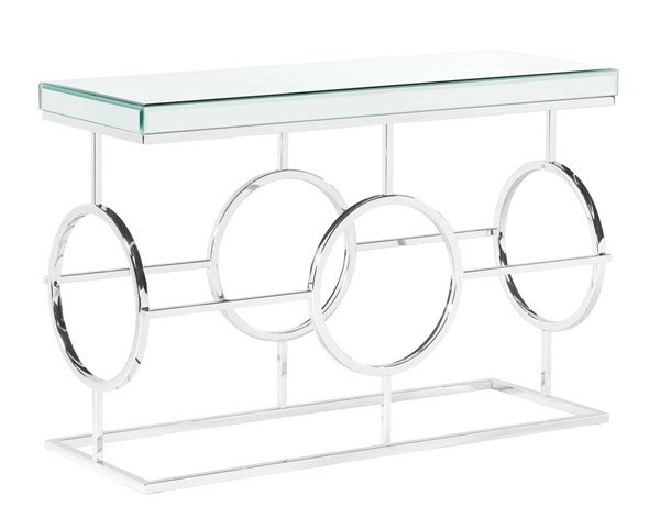 Picket House Katie Chrome Rectangle Mirrored Sofa Table PKT-CTPL100STE