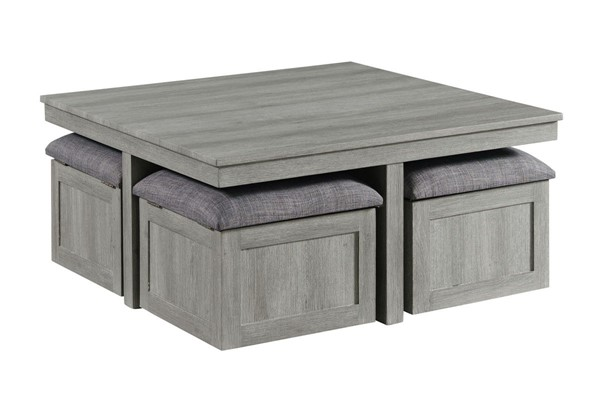 Picket House Dawson Light Grey Coffee Table with 4 Storage Stools PKT-CTUT100OT