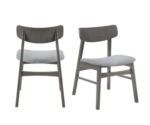 2 Picket House Hannah Gray Fabric Standard Height Side Chairs PKT-DAC100SC