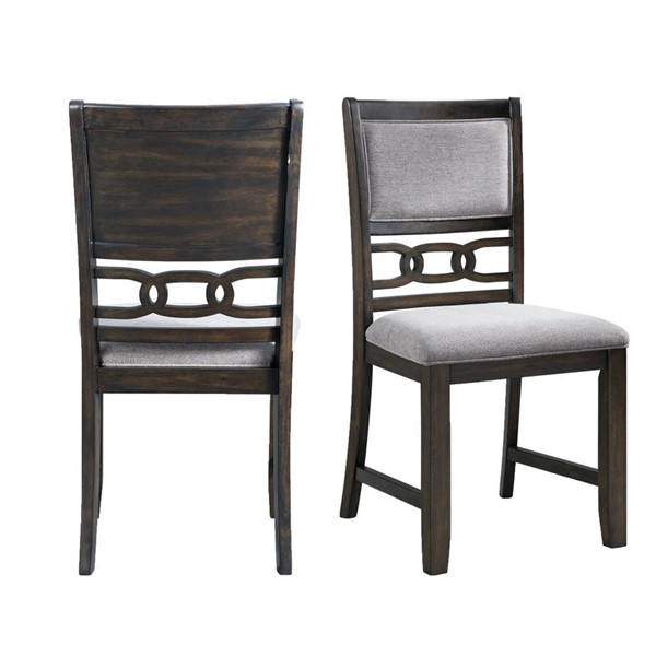 2 Picket House Taylor Walnut Gray Fabric Standard Height Side Chairs PKT-DAH500SC