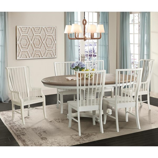 Picket House Cayman Brown White Wood 7pc Dining Set with Windsor Chairs PKT-DBS7007PC