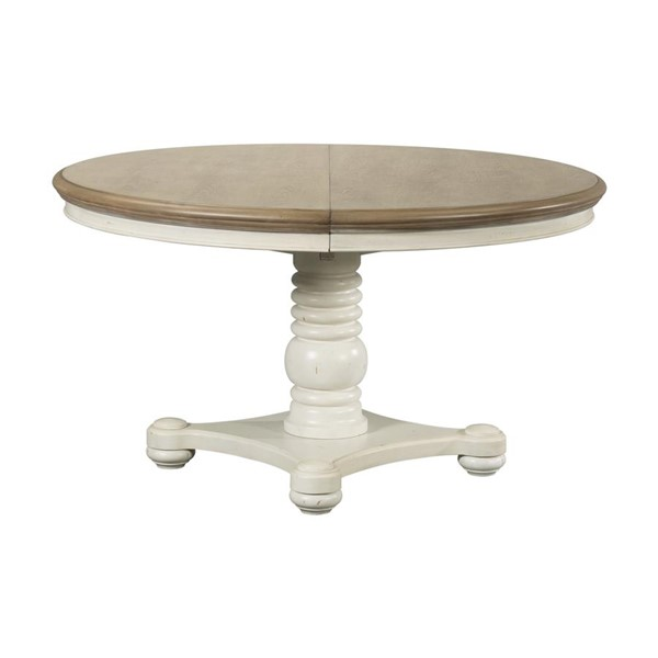 Picket House Cayman Brown White Pedestal Dining Table PKT-DBS700DTBE