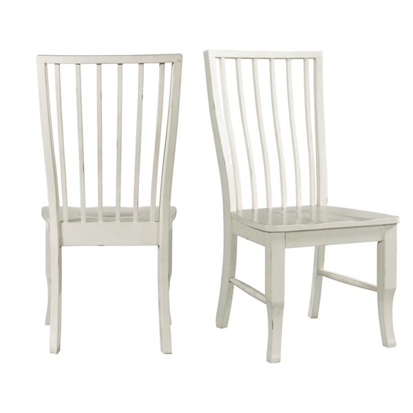 2 Picket House Cayman White Armless Side Chairs PKT-DBS700SCE