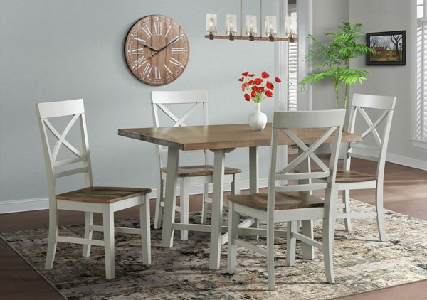 Picket House Bedford Brown White Wood 5pc Dining Set PKT-DEP4005DS