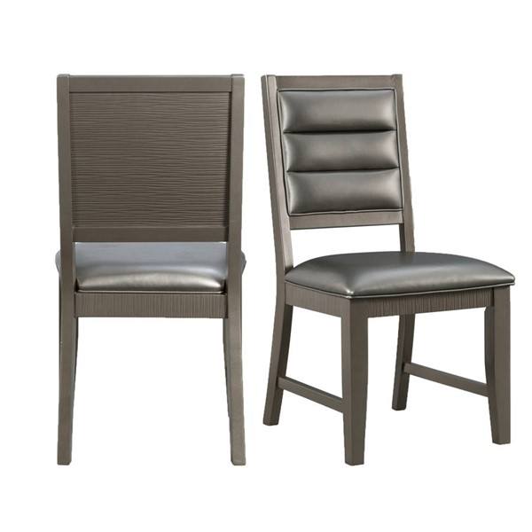 2 Picket House Aria Gray PU Standard Height Side Chairs PKT-DFH100SC