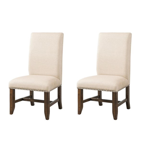 2 Picket House Francis Natural Taupe Fabric Upholstered Side Chairs PKT-DFK100FSC