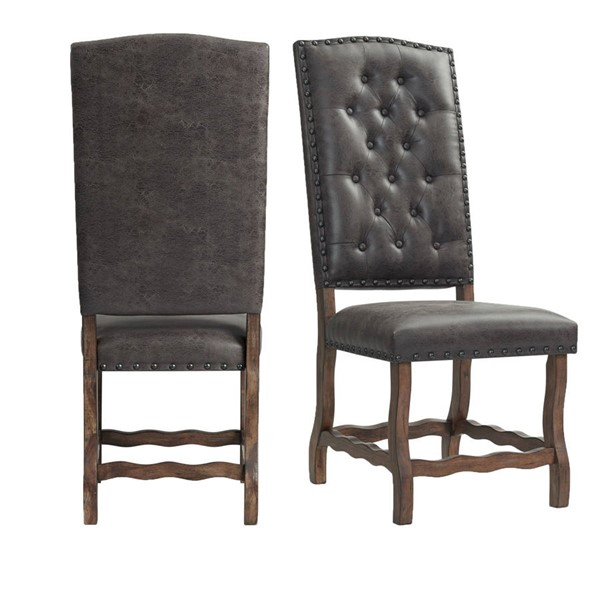 2 Picket House Hayward Walnut Chocolate Faux Leather Tufted Tall Back Side Chairs PKT-DGC500CLSC