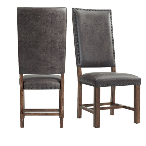 2 Picket House Hayward Walnut Chocolate Faux Leather Tall Back Side Chairs PKT-DGC500SLSC