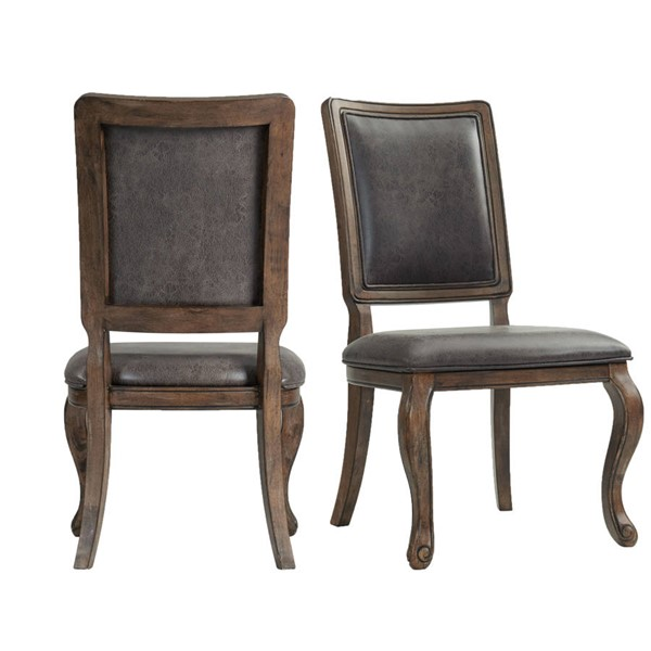 2 Picket House Hayward Walnut Chocolate Faux Leather Side Chairs PKT-DGC550SCPB