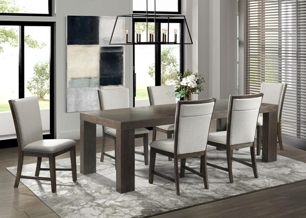 Picket House Jasper Walnut Gray 7pc Dining Set with Upholstered Side Chairs PKT-DGD1007PC