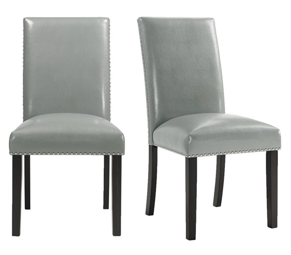 2 Picket House Pia Grey Faux Leather Dining Side Chairs PKT-DMI300SC