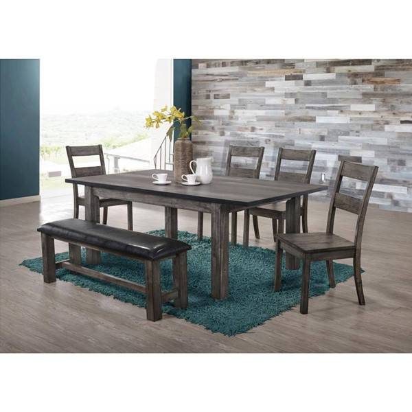 Picket House Grayson Grey Oak 6pc Dining Set with Padded Seat Bench PKT-DNH100CW6PC