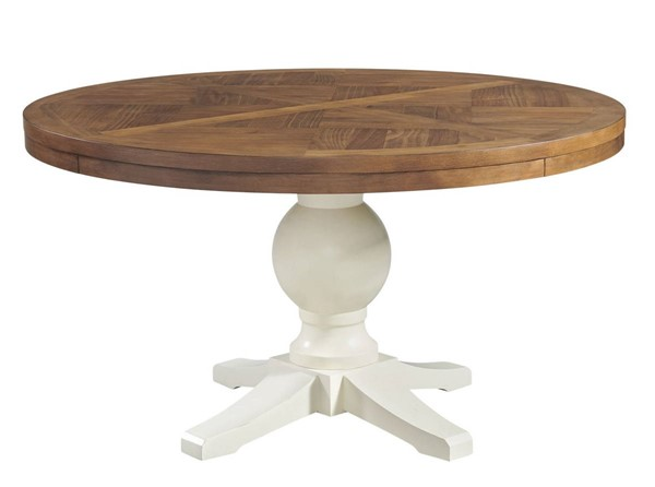 Picket House Barrett Natural White Round Standard Height Dining Table PKT-DPK100RDTB