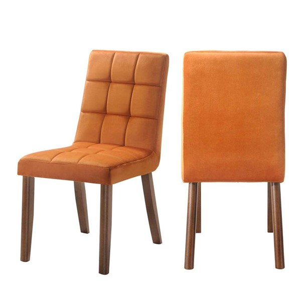 2 Picket House Rosie Orange Armless Tufted Side Chairs PKT-DRB500TSCOG