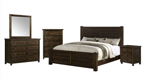 Picket House Danner Chestnut Wood 5pc Bedroom Set with King Panel Bed PKT-DS600KB5PC