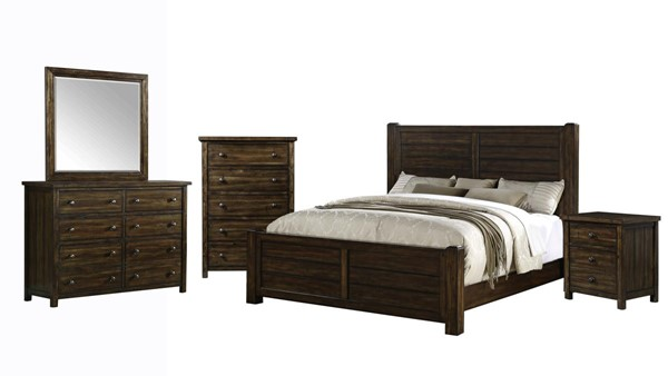 Picket House Danner Chestnut Wood 5pc Bedroom Set with Queen Panel Bed PKT-DS600QB5PC