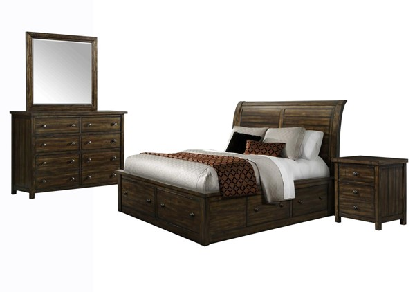 Picket House Danner Chestnut Wood 4pc Bedroom Set with Queen Drawer Bed PKT-DS650QB4PC
