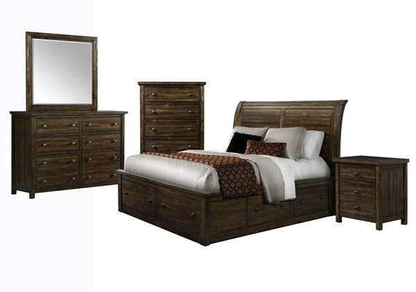 Picket House Danner Chestnut Wood 5pc Bedroom Set with Queen Drawer Bed PKT-DS650QB5PC