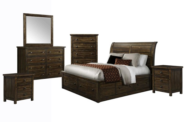 Picket House Danner Chestnut Wood 6pc Bedroom Set with Queen Drawer Bed PKT-DS650QB6PC