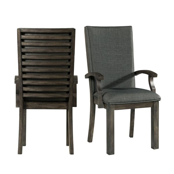 2 Picket House Montego Gray Fabric Arm Chairs PKT-DSB100AC