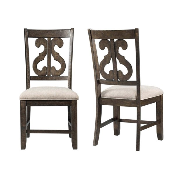 2 Picket House Stanford Taupe Wooden Swirl Back Side Chairs PKT-DST150SC