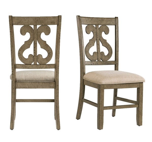 2 Picket House Stanford Taupe Fabric Grey Wooden Swirl Back Side Chairs PKT-DST350SC