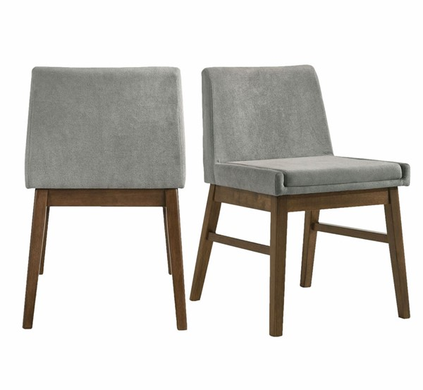 2 Picket House Wynden Walnut Grey Fabric Dining Side Chairs PKT-DWT100SC