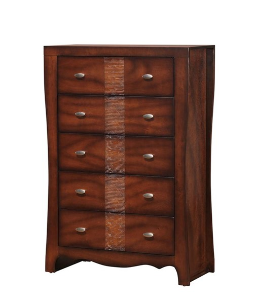 Picket House Jansen Medium Espresso Wood 5 Drawers Chest PKT-JN100CH