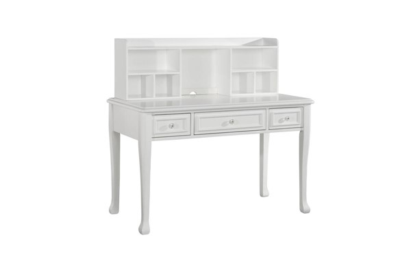 Picket House Jenna White Wood 3 Drawers Desk with Hutch PKT-JS700DKHT
