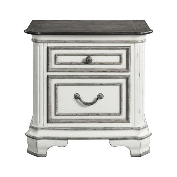 Picket House Caroline Antique White 2 Drawers Night Stand with Usb PKT-LH700NS