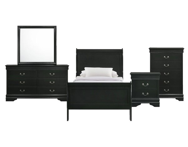 Picket House Ellington Black 5pc Bedroom Set with Twin Panel Bed PKT-B-11458-T5PC