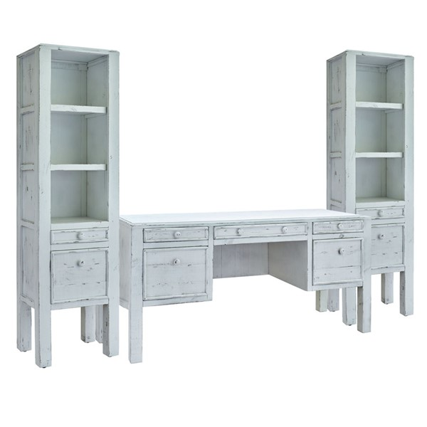 Picket House Lenox White Wood 3pc Office Furniture Set PKT-M-11240-02-3PC