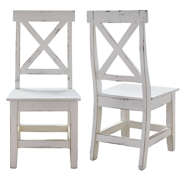 2 Picket House Brixton White Wood Side Chairs PKT-M-22170-SC