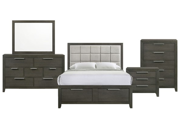 Picket House Myla Grey 5pc Bedroom Set with Queen Storage Bed PKT-MK300QB5PC