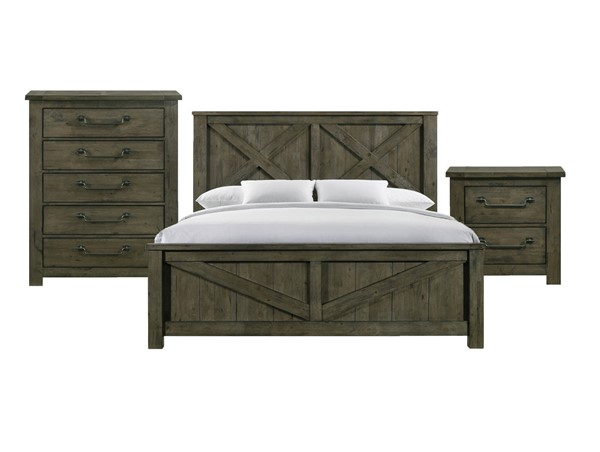 Picket House Memphis Antique Grey 3pc Bedroom Set with King Panel Bed PKT-MV500KB3PC