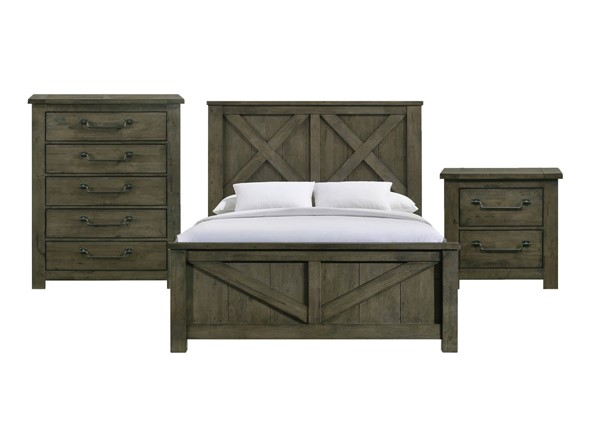Picket House Memphis Antique Grey 3pc Bedroom Set with Queen Panel Bed PKT-MV500QB3PC