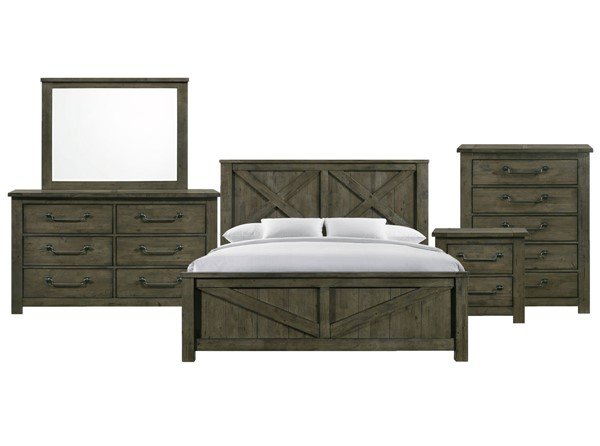 Picket House Memphis Antique Grey 5pc Bedroom Set with King Panel Bed PKT-MV500KB5PC