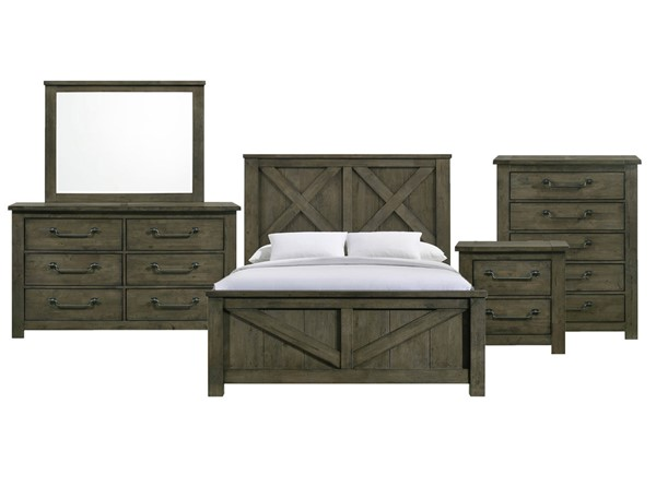 Picket House Memphis Antique Grey 5pc Bedroom Set with Queen Panel Bed PKT-MV500QB5PC