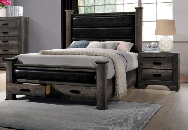 Picket House Grayson Grey Oak 2pc Bedroom Set with Storage Queen Poster Bed PKT-NH100-BR-S3